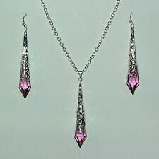 PURPLE FACETED VICTORIAN STYLE 7cm SILVER PLATED FILIGREE EARRINGS PENDANT SET