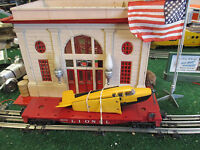 LIONEL POST WAR 6800 FLAT CAR WITH YELLOW TOP AIRPLANE EXC ORIG COND 1957-1960