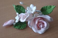 Pink Rose Spray w/ Fillers Leaves Sugar flower wedding birthday cake decoration