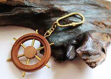 Schlüsselanhänger maritim Steuerrad ca. 11 x Ø 6 cm Holz und Messing