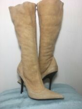 Roberto Cavalli RUNWAY Camel Beige Leather Suede Stiletto Fur Lining Boots Sz 38
