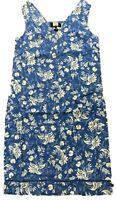 BN NEXT LADIES LINEN BLEND BLUE FLORAL SUMMER SHIFT DRESS TUNIC SIZE 8-20 £18.99