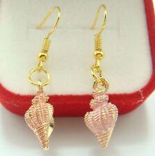 Pretty New Gold Plated Pink Enamel Conch Shell Drop Dangle Earrings