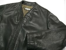 Men's Vintage Giorgio Armani No Collar Black Brown Ram Skin Leather Jacket size