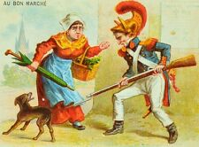 1870's French Soldier Attacking Dog w/ Rifle Bayonet Paris trade Card F88