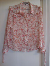 Laura Ashley Light Beige & Orange Floral Frilled Blouse in Size 10 - imperfect