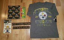 NWT NFL PITTSBURGH STEELERS t-shirt LARGE magnet toothbrush glow kit pillow