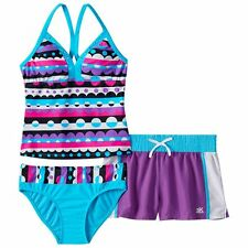 Girls ZeroXposur 3 Pc Halterkini Swimsuit Set in Azure -Size 12 NWT