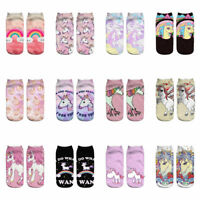3D Print Cute Unicorn Socks Low Cut Ankle Women Boat Sock Harajuku Emoji new