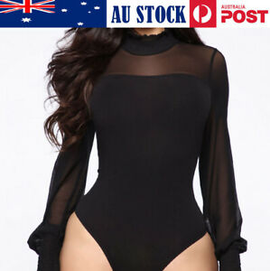 NEW SEXY WOMEN'S HIGH COLLAR  LONG SLEEVE HEDGING  TIGHT FITTING JUMPSUIT BLACK