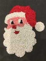 VINTAGE CHRISTMAS Santa face MELTED PLASTIC POPCORN DECORATION DOOR GREETER