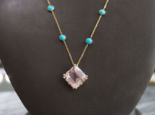 Gorgeous 14K yellow gold Kunzite and Turquoise necklace