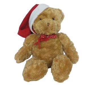 "Hallmark Christmas Teddy Bear Bow Santa Hat Plush Stuffed Animal 15.5"""