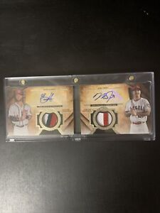 2017 TOPPS TIER 1 DUAL JERSEY PATCH AUTO MIKE TROUT BRYCE HARPER SP 3/10 BGS 9