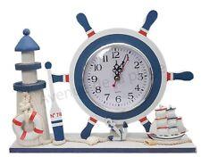Horloge barre à roue, gouvernail et phare décoratif, décoration style marin neuf
