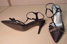 "M by Marinelli Black Satin Rhinestone Heels NEW 8.5 M ""Pamper"" Prom $120 Formal"