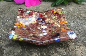 Colorful Millefiori Glass Open Salt Dip, Cellar, Dish w/Gold!