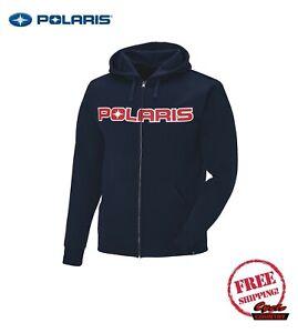 POLARIS MEN'S CORE HOODIE SWEATSHIRT FULL ZIP NAVY BLUE RED RZR RMK ACE NEW