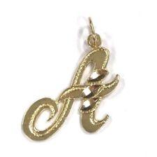 14 Karat Yellow Gold Cursive Script Capital A Letter Initial Charm Pendant P507