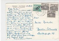 Germany 1954  Hannover Cancel Berlin Buildings Multiple Stamps Card Ref 24318
