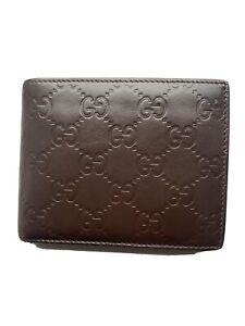 Gucci Leather Wallet Bifold Guccissima Dark Brown Authentic