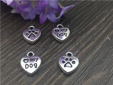 NEW 10pcs LOVE MY DOG Tibetan Silver Bead charms Pendants DIY jewelry  A125