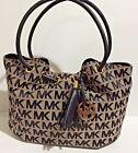 NWT Michael Kors MK Signature Black Beige Ring Tote Shoulder Bag Handbag