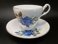 Consort Fine Bone China England Tea Cup Saucer Blue Roses