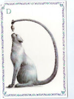 French Postcard Grey Cat Kitten Mouse Feline Alphabet Letter D Name Surname Card