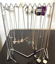 Jewelry Holder Zig Zag Necklace Rack Bracelet Stand Table Top Brushed Silver NEW