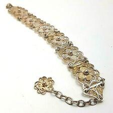 Vintage Solid Silver Filigree Panel Bracelet 14.6g 20cm