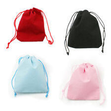 100PC Mixed Color Drawstring Velvet Pouches Jewelry Packing Party Gift Bag 7x5cm