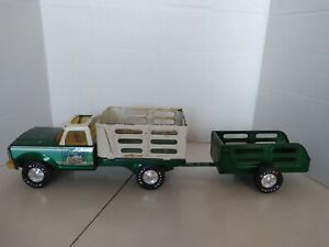 Vintage Pressed Steel Nylint Farms Green Truck And Trailer Set.