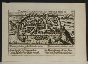 VISBY SWEDEN 1625 MEISNER UNUSUAL ANTIQUE COPPER ENGRAVED CITY VIEW