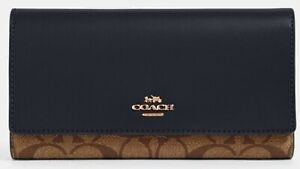 NWT COACH Trifold Wallet Signature C Canvas, Khaki Midnight Navy 88024 $250