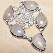 "Handmade Natural Rutilated Quartz Jasper 925 Sterling Silver Necklace 21"" N00769"