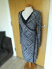 Ladies Dress Size 12 Black White Wrap Smart Casual Day Party
