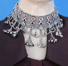 Chunky Choker Collar Necklace Gothic Tribal Afghan Vintage Silver Boho Jewelry