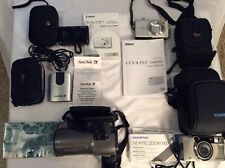 Vintage Lot Of 4 Cameras & San Disks, Manuals & Cases - Olympus, Cannon, Nikon