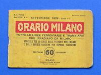 Orario Milano Linee ferroviarie e tramviarie Ferrovie Nord e Varesina - 1929