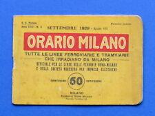 Ferrovie - Orario Milano - Linee ferroviarie e tramviarie - anno 1929 - Raro