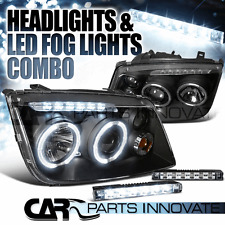For 99-05 VW Jetta Bora Mk4 Black Twin Halo Projector Headlights+6-LED Fog Lamps