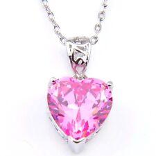 Lovely Romantic Love Heart Shaped Pink Topaz Gems Silver Necklace Pendants