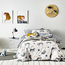 TIP TOE TIGER Reversible DOUBLE bed Quilt Doona Duvet Cover set ADAIRS