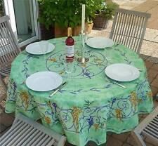 Tischdecke Provence 180 cm rund hellgrün Lavendel aus Frankreich, bügelfrei
