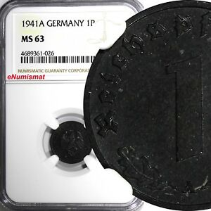 Germany-Third Reich Zinc 1941 A 1 Reichspfennig WWII NGC MS63 TOP GRADE KM97/026