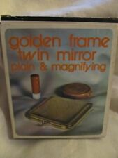 PURSE GOLDEN FRAME MAGNIFYING AND REGULAR MIRROR COMPACT NOS W/BOX