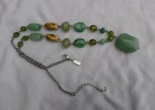 Oasis green bead necklace silver tone