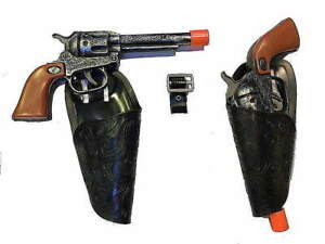 Western Hero 2 Clicker Gun Holster Set w/ Belt (ant)