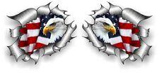 COPPIA di piccole dimensioni STD RIP RIPPED TORN METAL Aquila di mare e US Flag Auto Adesivo